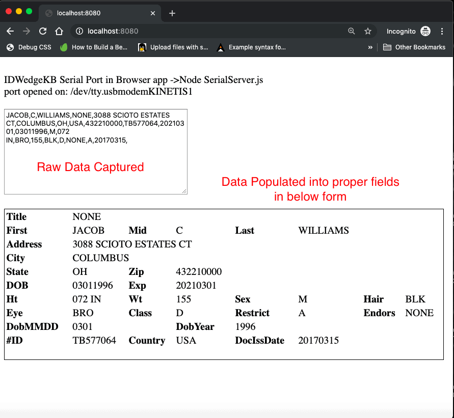 raw data captured and form populated