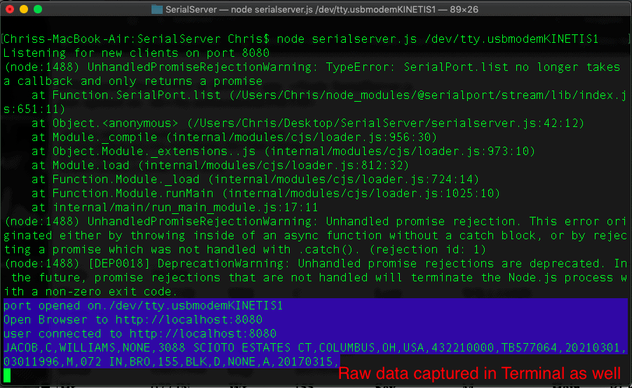 raw driver's liense data captured in terminal simultaneously with web form
